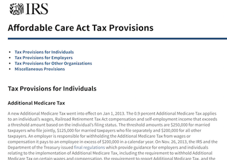 Affordable Care Act Tax Provisions IRS.png