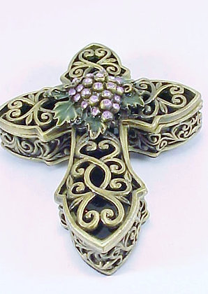PEWTER CROSS TRINKET BOX