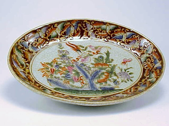 OVAL SOAP DISH BIRD RED AND WHITE FLORAL