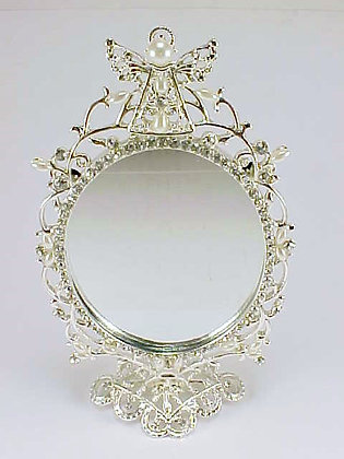 OVAL ANGEL PEARLED VANITY MIRROR