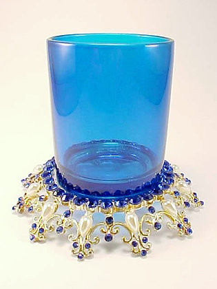 COBALT VOTIVE HOLDER WITH STAND