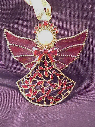 Angel Pewter Jeweled Christmas Ornament
