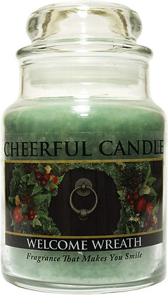 Welcome Wreath 16 Ounce Glass Jar Candle