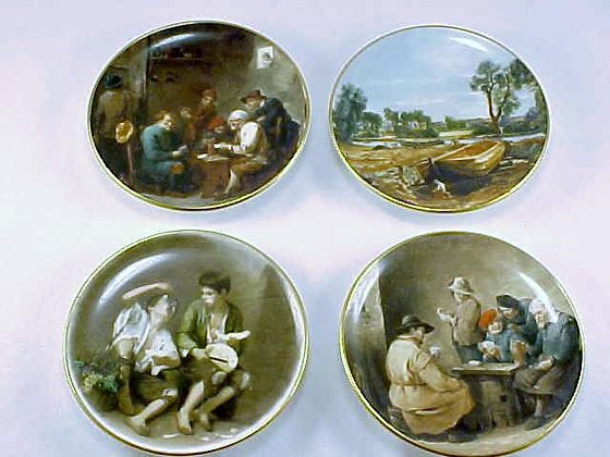 Crown Staffordshire Plates Miniature Set Of Four