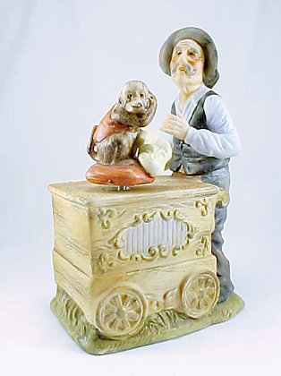 Organ Grinder And Monkey Music Box Porcelain