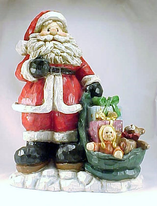 Santa Wood Carved With Toy Bag Standing