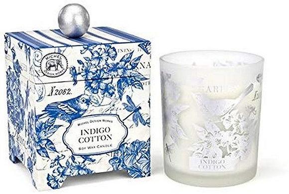 Indigo Cotton 14 Ounce Keepsake Box Candle