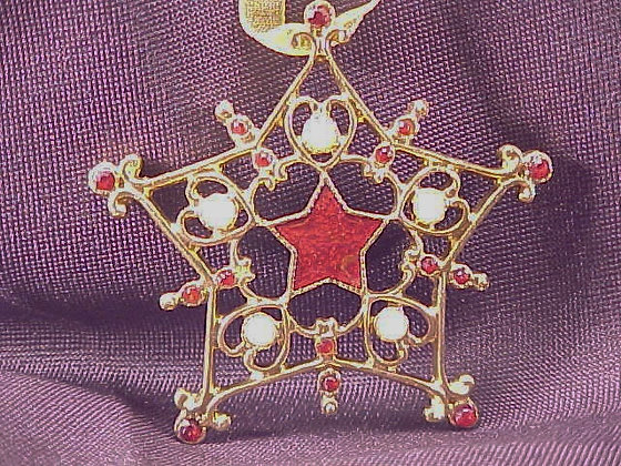 Pewter Jeweled Christmas Ornament Star