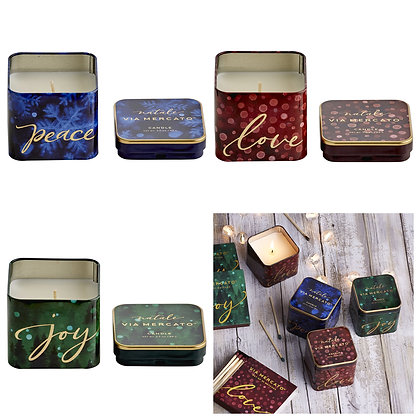Via Mercato Buon Natale Peace Love Joy Set 3 Tin Candles