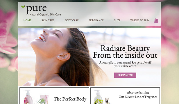 Beauty en wellness website templates – Huidverzorgingsproducten