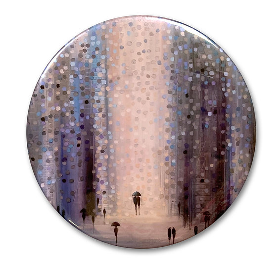 Lovers in the Rain Art Button