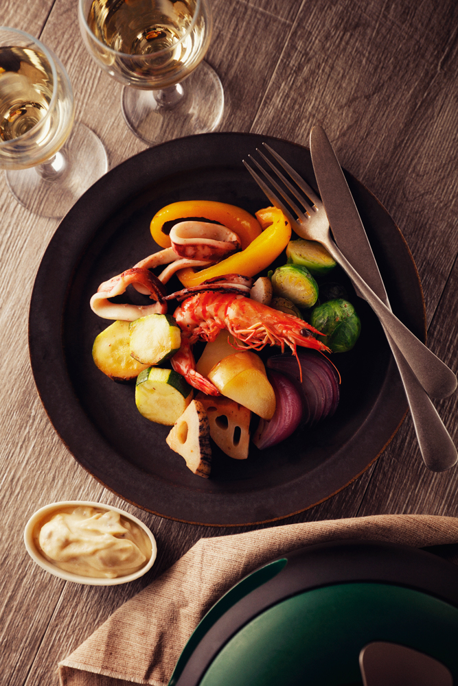 Steamed Vegetables and Seafood