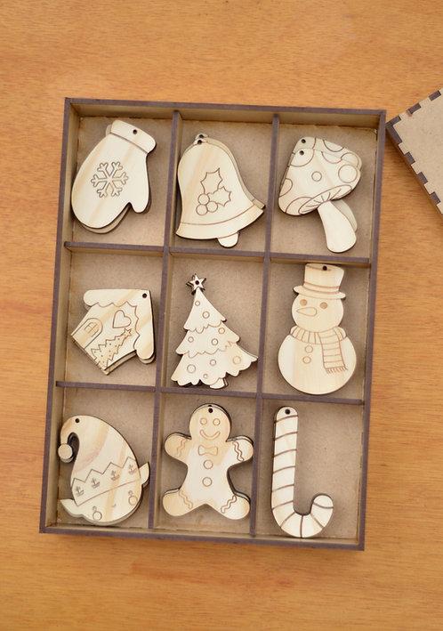 Caixa natalina - Kit Cru