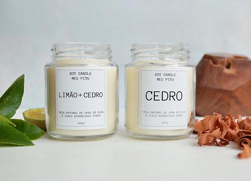 Vela de Cedro + Vela de Limão e Cedro
