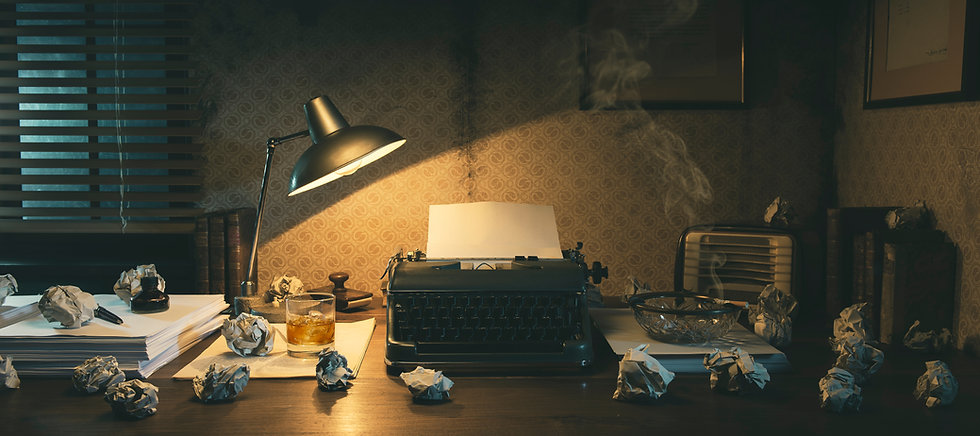 Office desk with vintage typewriter and