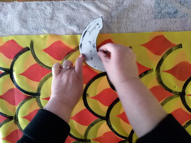 Impression textile au tampon