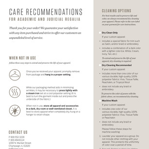 Herff Jones Cap & Gown Care Recommendations Flyer