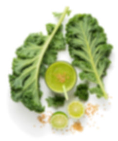 Top view of green smoothie from kale and