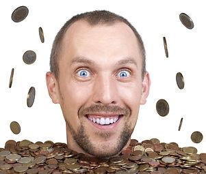 head of man in a heap of euro coins, rai