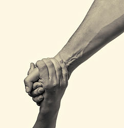 helping hand outstretched for salvation