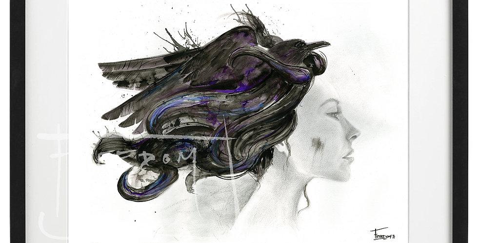 IMPRESSION- Femme au corbeau
