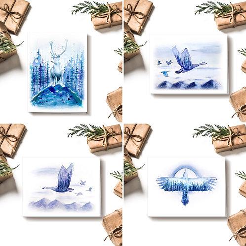 Ensemble de 4 cartes hivernales