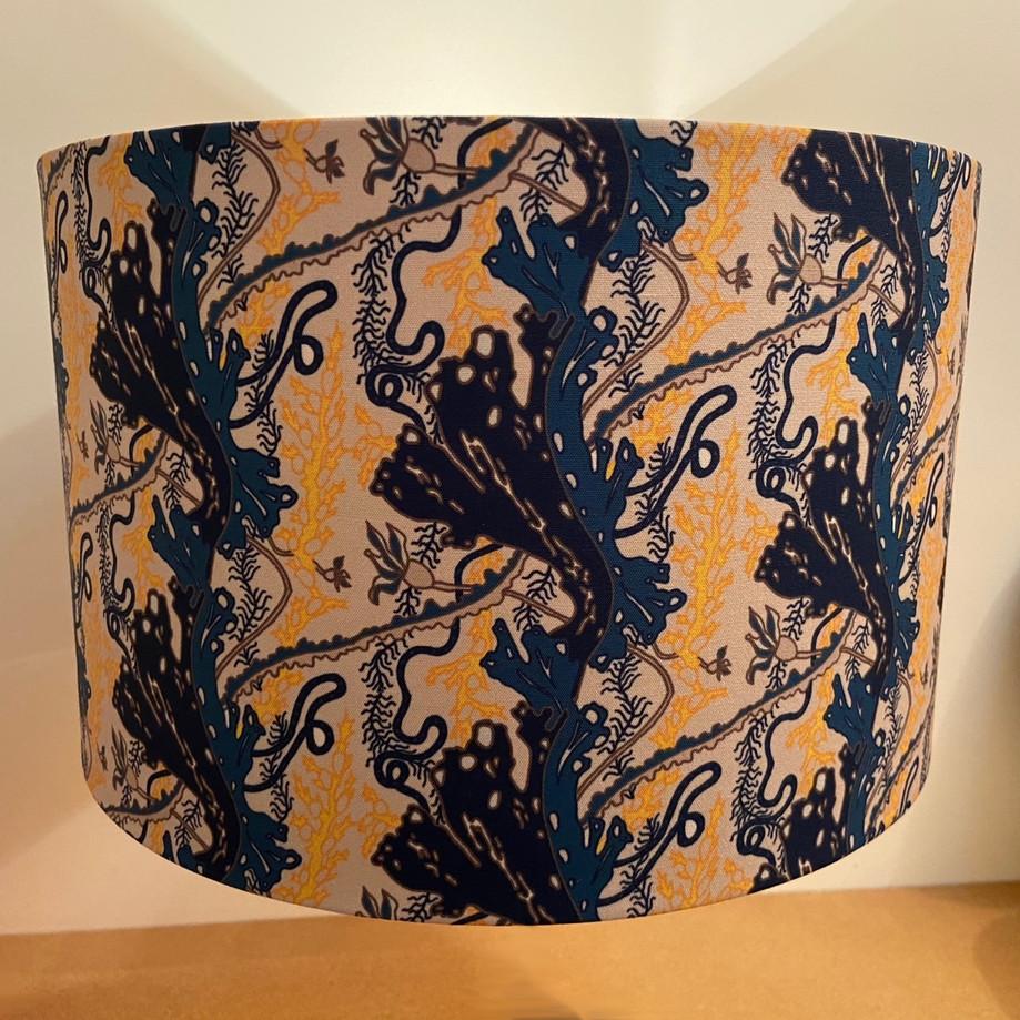 seaweed garden navy&gold 40cm drum shade