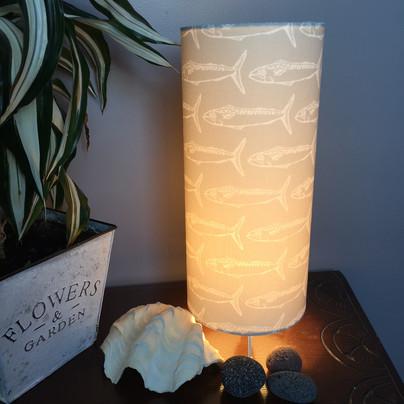 mackerel grey table lamp lit up