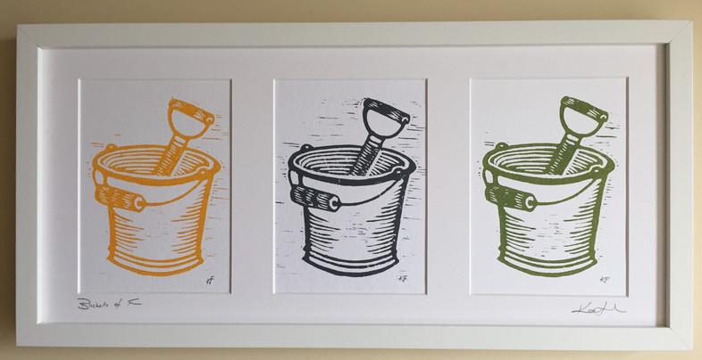 Buckets of Fun original lino cut