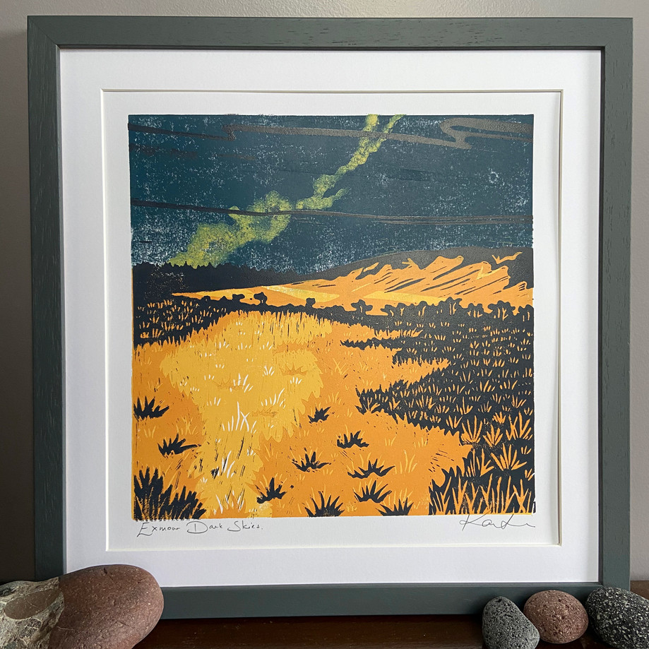 Exmoor Dark Skies original lino cut