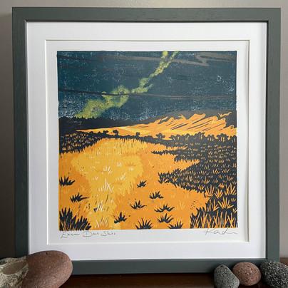 Exmoor Dark Skies original lino cut