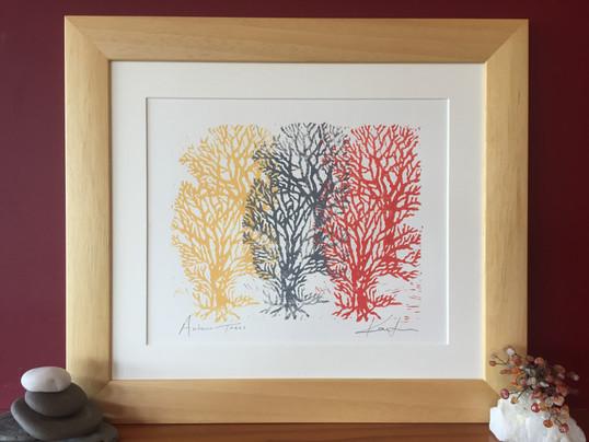 Autumn Trees original lino cut