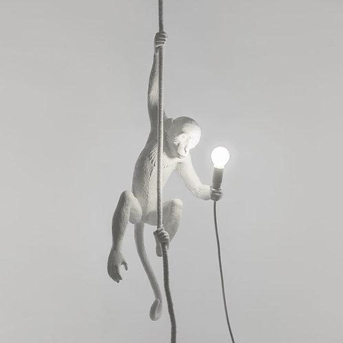 Opica - visiaca zo stropu na lane - biela