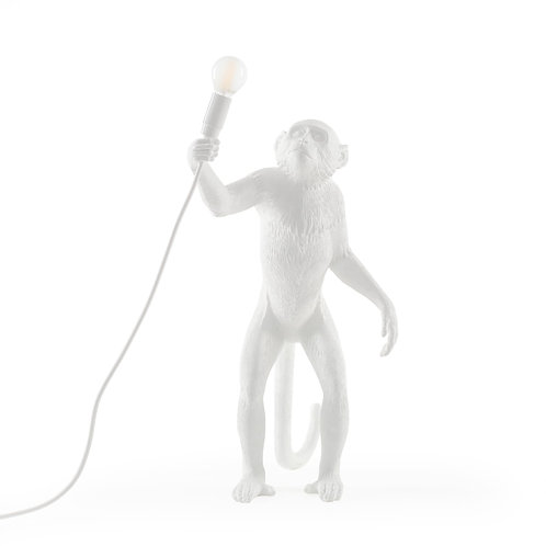 Opica - v stoji - biela