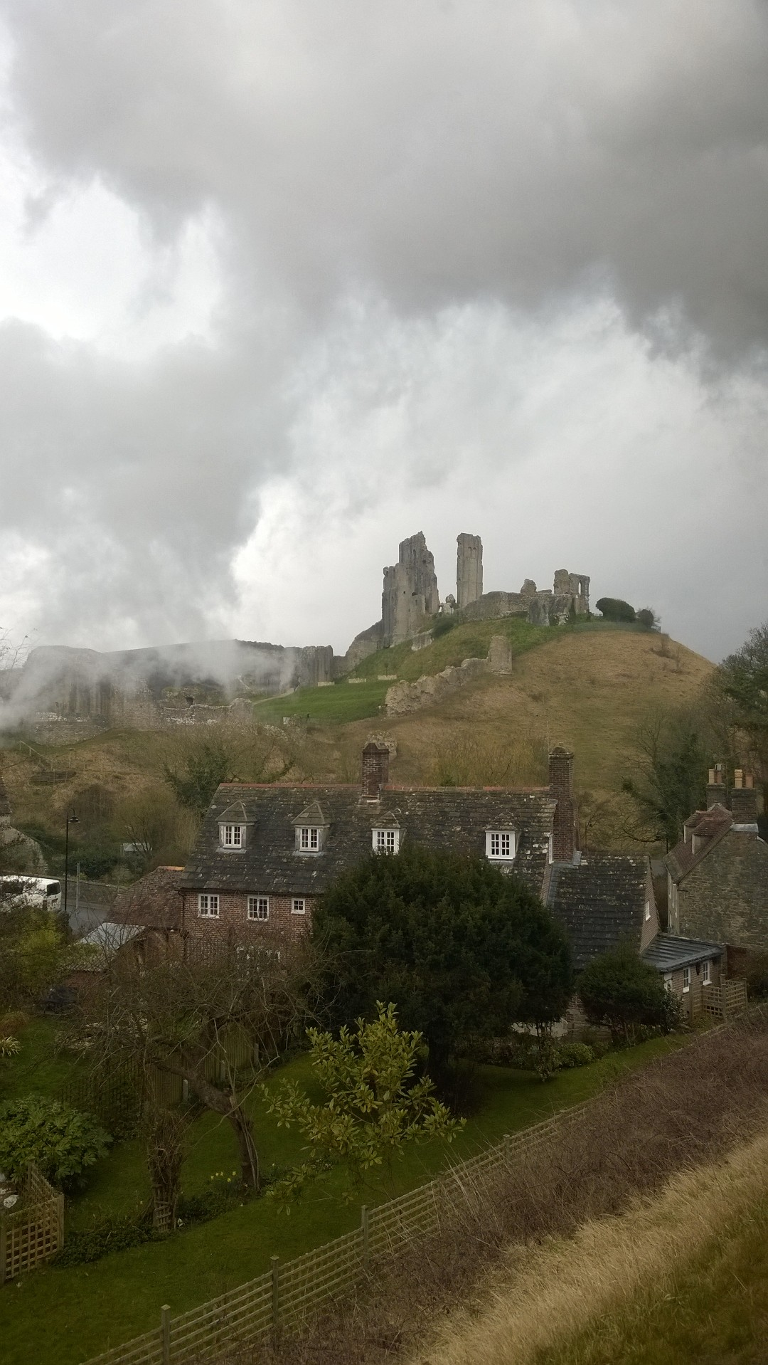 View of Corfe Castle from Swanage Steam Train