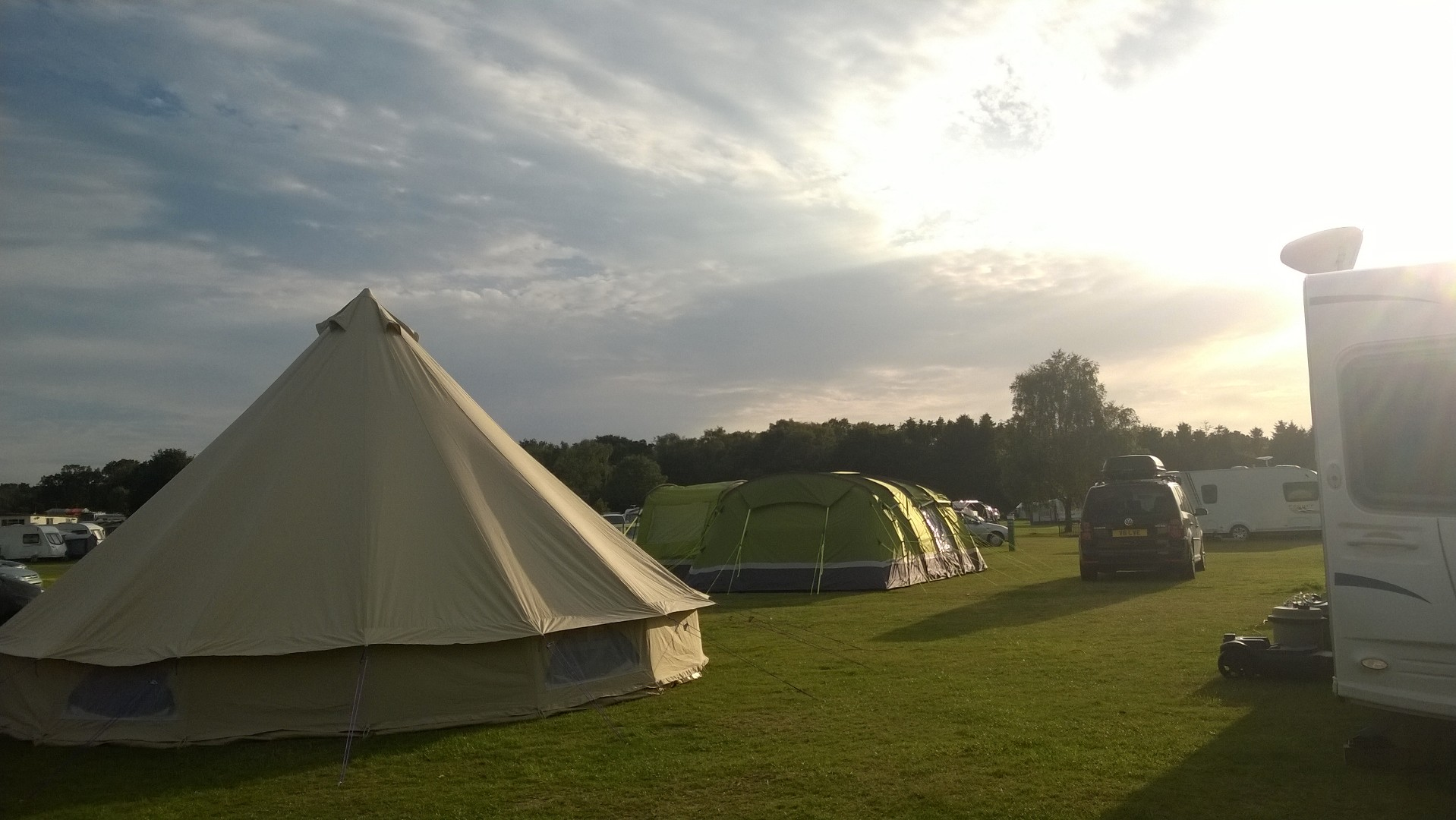 Tents and Caravans pitched in August
