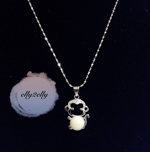 925 silver diamond monkey pendant w necklace elly2elly 925 silver diamond monkey pendant w necklace mozeypictures Images