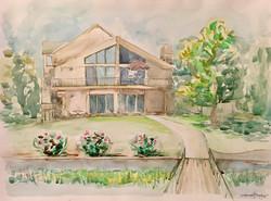 Lake house watercolor