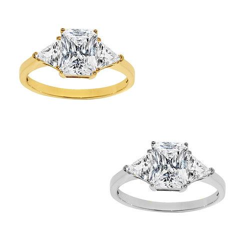 14k Yellow or White Gold 2ct TGW Emerald-cut Diamonette Engagement Ring