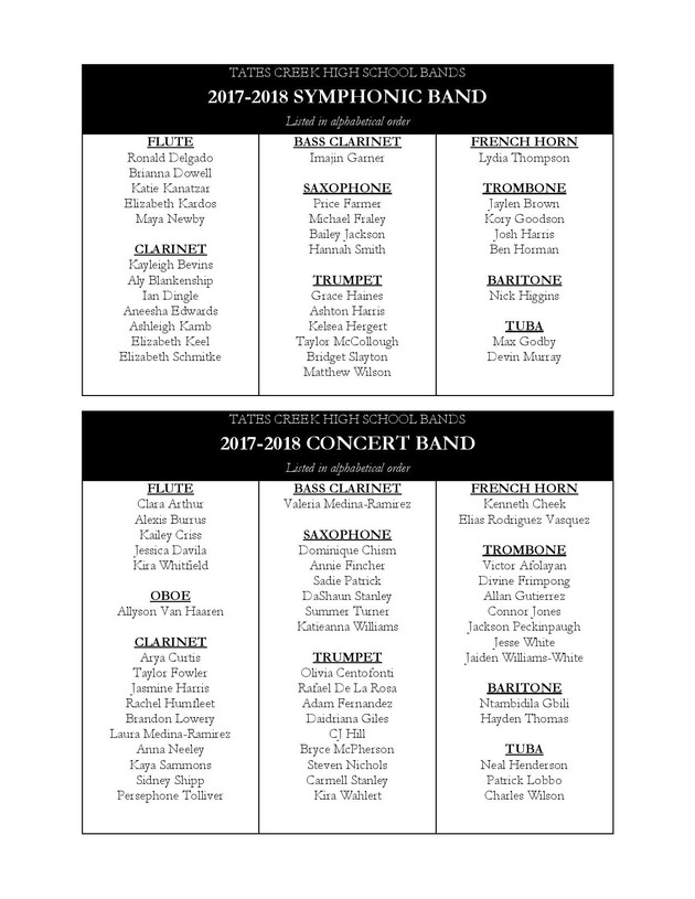 Ensemble Placement 2017-2018