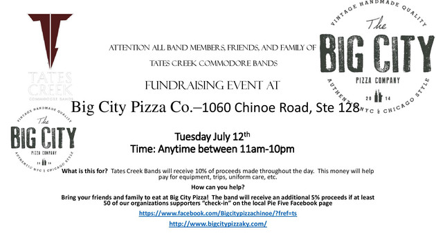 BIG CITY PIZZA Fundraiser