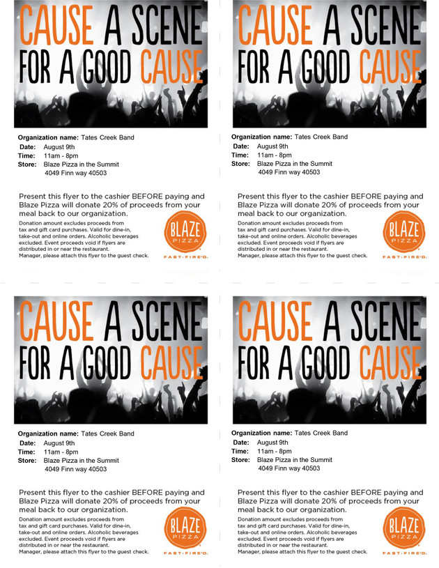 Fundraiser Night - Blaze Pizza (8/9/17)