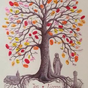 huwelijksboom met naambladeren
