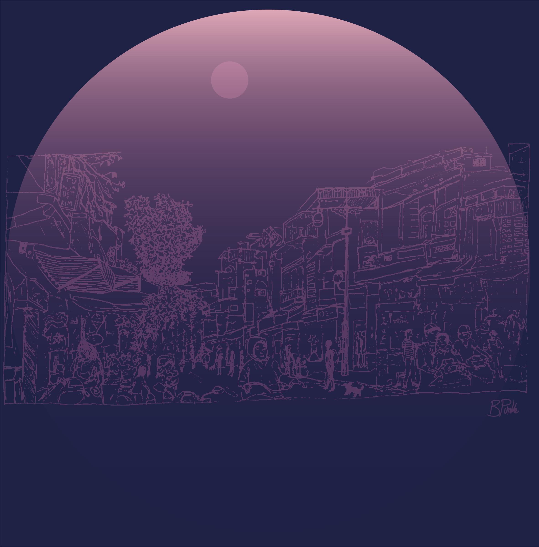 illustration hanoi street circle 4