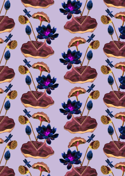 lotus flower repeat invert lilac