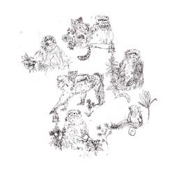 Monkeys (monoprint) 2015