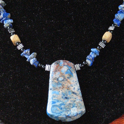 Blue Mottled Jasper Necklace