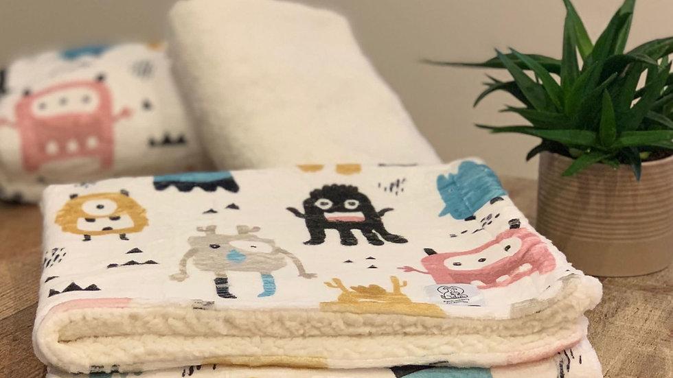 Monster Mash Dog Sherpa Fleece Blanket
