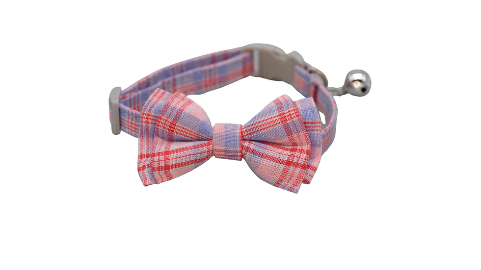 Cat Collar: Pink, Blue & Red Plaid