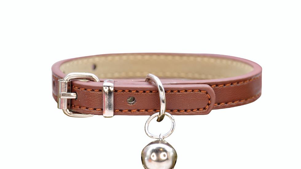Cat Collar: Brown Vegan Leather